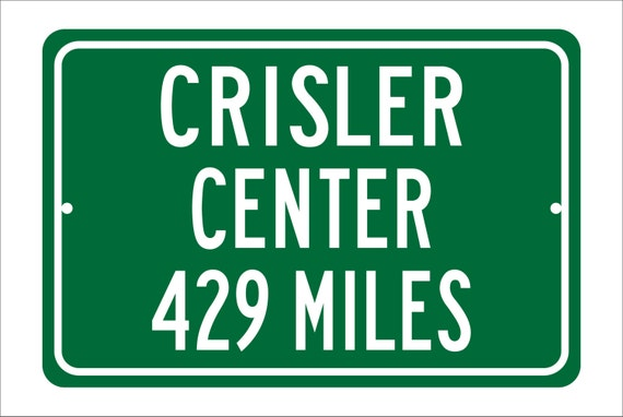 Custom College Highway Distance Sign to Crisler Center | Home of the U of Michigan Wolverines | Wolverines Basketball | University of Mich