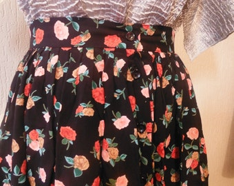 SALE! Black Floral Button Down Skirt - Size 8 10 S *Please see SHOP ANNOUNCEMENT*