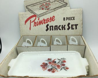 2- 8 piece Anchor Hocking Fire King Primrose snack set. In original boxes. 16 pieces in total. Listing is for both sets