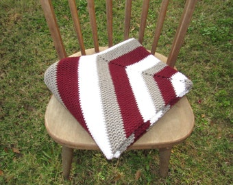 Crocheted Hexagon Throw in Maroon, Grey and White-Crocheted Throw
