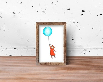 Hopeful Little Girl and Her Balloon: an original art print