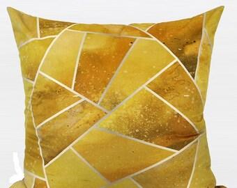 "Luxury Yellow Geometry Digital Printing Flannel Pillow 20""X20"""