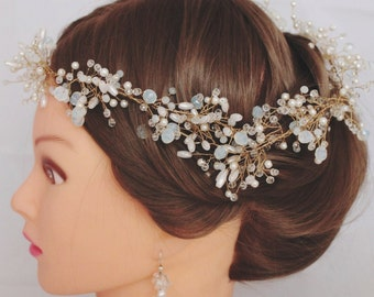 Crystal Wedding Vine golden wreath Headband Hair Accessories Bridal Diadem  Gold Accessory Delicate Bohemian Wreath Gold Baby's Breath Halo
