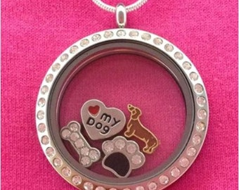 Dachshund Floating Charm Locket CIRCLE