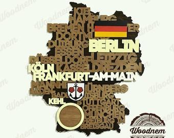 3D карта Германии из дерева. Wooden map