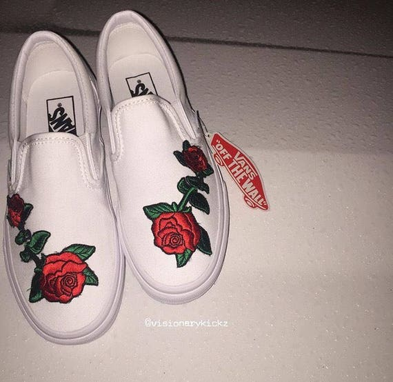 Custom Slip On Stitched Vans Roses