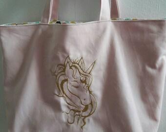 Tote pink Golden Unicorn
