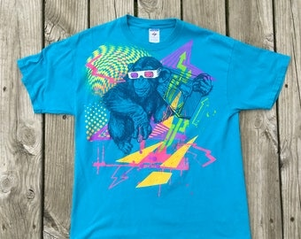 1980s Monkey Boombox Tee Shirt Large