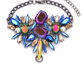 Crystal  Statement  Necklace Multi