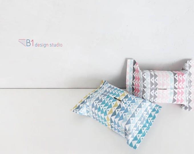 Canvas Tissue Box Cover, Pink and Blue Tissue Bag, Tissue Box Holder, Kleenex Box Cover, Bathroom Decor, Home Decor, Housewarming Gift