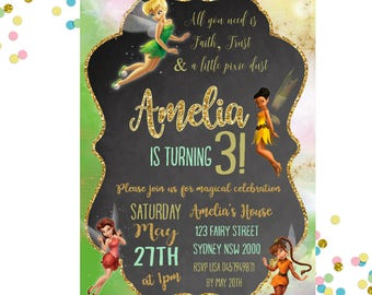 Tinkerbell Invitation -Tinkerbell Birthday Party -  Fairy Invitation