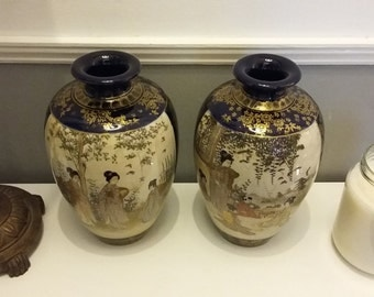 Antique Pair of Early 20th Century Japanese Satsuma Vases