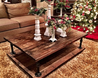 Double Tiered Iron Piping Coffee Table | Industrial Rustic Coffee Table | Iron Piping Table |