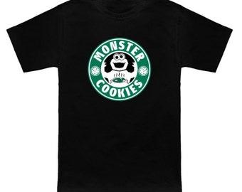 MONSTER COOKIES Sesame Street/Starbucks Mashup Cookie Monster Muppets Funny Geek T-Shirt Anime Nerd Shirt