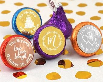 Foil Wedding Favors Chocolate, Personalized Foil Hershey's Kisses, Metallic Foil Chocolate Kisses - Set of 100