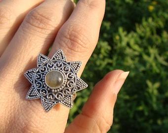 Labradorite Ring, Statement Ring, Sterling Silver Labradorite Ring, Labradorite Jewelry, Pure 925 Sterling Silver Ring, Boho Ring.