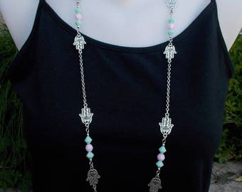 Fatma hand necklaces with Swarovski crystal, silver oriental jewelry hamsa hand  evil eye jewelry, evil eye pendant surgical steel