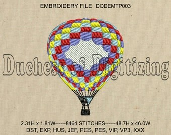 Hot Air Balloon Embroidery Design, Hot Air Balloon Embroidery File, DODEMTP003
