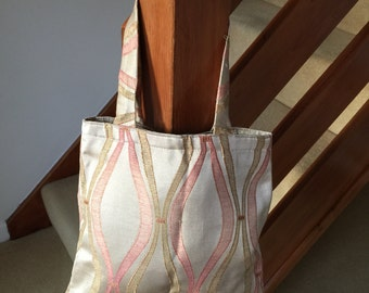 Reversible small tote bag - classic design - handmade - fully lined