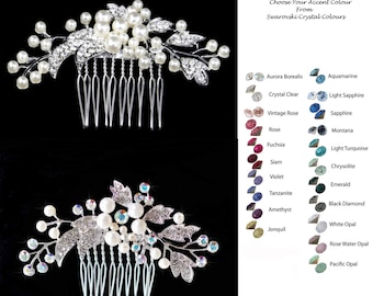 Choose Your Accent Colour -- Vintage Inspired Crystal & Pearl Comb (Pearl-753)
