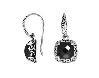 Black onyx sterling silver earring