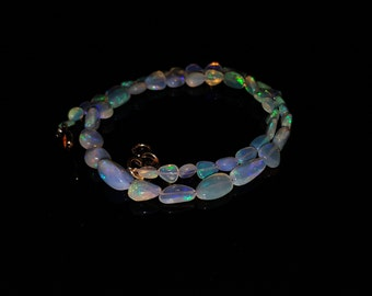36.30 Cts Natural Ethiopian Welo Fire Opal White Multi Tumble Nugget Necklace (ET-2)