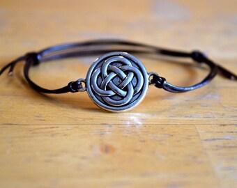 Celtic Knot Charm Bracelet, Antique Silver Charm, Adjustable, Leather, Celtic Charm, Friendship Gift, Eternity, Circle of Life