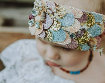 CUSTOM Mermaid Crown, baby and momma size on a ribbon! Stays on well and is perfect for any season!!