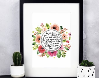 Custom Personalised Floral Border Print - Bespoke Custom Print - Personalised Print - Personalized Print - Wedding Gift - Gift for a Friend