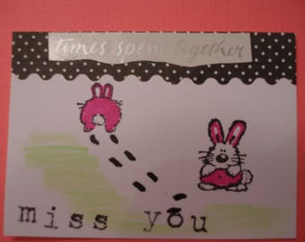 "ACEO RABBITS ARTIST Trading Card 2 1/2""x 3 1/2"" Miss You"