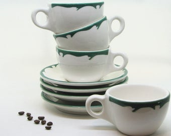 Vintage Buffalo China Crest Green Coffee Cups and Saucers, Set of 4 — Classic American Diner Style — Made in U.S.A.