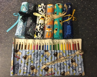 24 ct Crayola Colored Pencil Roll Up, Canvas and Cotton,Travel Art, Stocking Stuffer, Customizable,