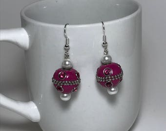 Pink Earrings, White Earrings, Pink and White Earrings, White Pearl Earrings, Silver Earrings