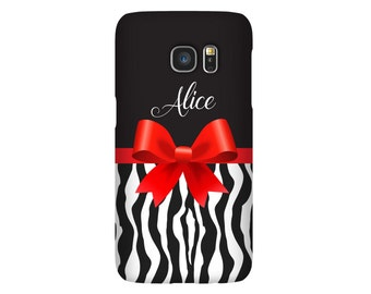 Personalized Samsung Galaxy Case, Samsung Case, Galaxy S7 Case, Monogram S7 edge, S6 Case, S6 edge, Monogram iPhone 6 Case, Zebra Red Bow