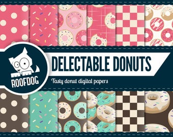 Donut digital paper | bubblegum pink | mint green | chocolate | national donut day | donut pattern | retro 1950s diner pattern | pink donut
