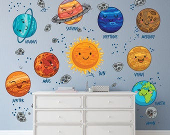 Cartoon Planets Wall Decals for New Babies / Solar System Decals / Cute Solar System Bedroom Decal / Decals for Nursery - DASHWD10004