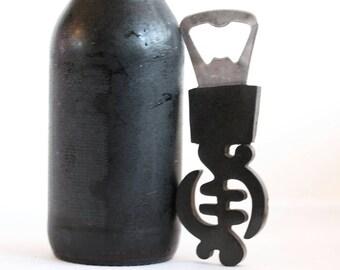Wooden Gye nyame shaped bottle opener