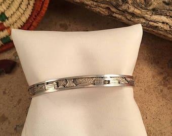 Vintage Navajo Sterling Silver Hand Stamped Cuff Bracelet Signed