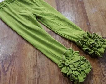 6 olive Ruffled leggings,Ruffled leggings,leggings,girls leggings,baby girl triple ruffled leggings, toddler ruffled pants,Icing leggings