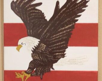American flag Bald Eagle Painting