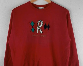 RARE!!! Roberta di Camerino Big Logo Embroidery Crew Neck Red Color Sweatshirts Hip Hop Swag S (160) Size