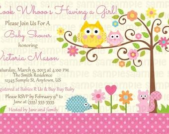 PRINTED Happi Tree Owl Baby Shower Invitations