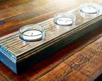Wood and glass tea light candle holder