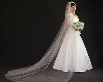 """Sparkly Wedding Veil - 108"""" cathedral veil with cut edge"""