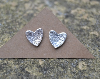 Tiny Silver Heart Stud Earrings, Post Stud Earrings, Small Heart Earrings, Silver Heart Jewellery, Gift For Her,