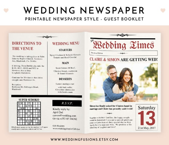 Hochzeitszeitung Texte Ideen: Hochzeit-Zeitung Zeitung Einladung Hochzeit Zeitung Programm