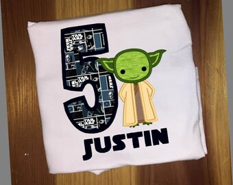 Yoda Star Wars Birthday Shirt embroidery and applique