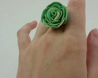 Green polymer clay rose. Adjustable ring