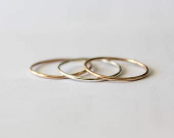 Stacking Rings Trio, Stacking Rings, Stacking Ring Set, Gold Stacking Rings, Silver Stacking Rings, 14k Gold Ring, Minimalist Jewelry, Rings