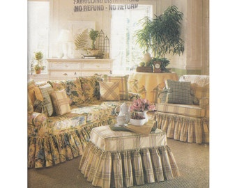 50% Off Sale! Butterick 6619 Uncut Waverly Slipcover and Instructions to Make Slipcovers for Sofa, Chair, Ottoman/Pillows & Table Cloth